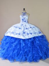 Royal Blue Organza Lace Up Quinceanera Gown Sleeveless Court Train Embroidery and Ruffles