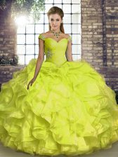 Excellent Off The Shoulder Sleeveless Lace Up 15th Birthday Dress Yellow Organza