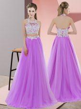 Fine Lavender Zipper Vestidos de Damas Lace Sleeveless Floor Length
