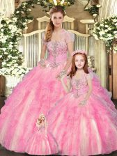 Fabulous Sleeveless Floor Length Beading and Ruffles Lace Up 15 Quinceanera Dress with Baby Pink