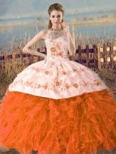 Ball Gowns Sleeveless Orange and Rust Red Quince Ball Gowns Court Train Lace Up