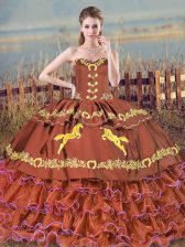 Discount Brush Train Ball Gowns Quinceanera Gown Brown Sweetheart Satin and Organza Sleeveless Lace Up