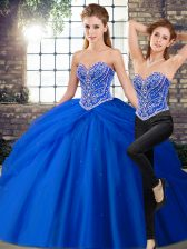 Customized Brush Train Two Pieces Sweet 16 Dress Royal Blue Sweetheart Tulle Sleeveless Lace Up