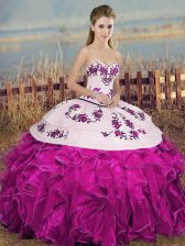 Elegant Fuchsia Ball Gowns Embroidery and Ruffles and Bowknot Quinceanera Gowns Lace Up Organza Sleeveless Floor Length
