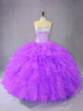Exceptional Sweetheart Sleeveless 15th Birthday Dress Floor Length Beading and Ruffles Purple Organza