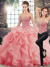 Super Watermelon Red Tulle Lace Up Sweet 16 Dress Sleeveless Brush Train Beading and Ruffles