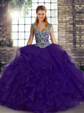 Ball Gowns Quinceanera Dress Purple Straps Tulle Sleeveless Floor Length Lace Up