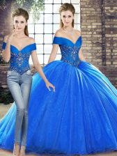Royal Blue Two Pieces Off The Shoulder Sleeveless Organza Brush Train Lace Up Beading 15th Birthday Dress