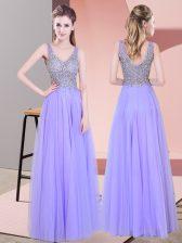Floor Length Lavender Prom Gown Tulle Sleeveless Beading