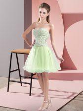 Fancy Yellow Green Sweetheart Zipper Beading Prom Dress Sleeveless