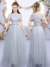 Noble Grey High-neck Neckline Lace and Belt Damas Dress Sleeveless Zipper