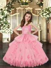 Beauteous Baby Pink Tulle Lace Up Little Girl Pageant Dress Sleeveless Floor Length Lace and Appliques