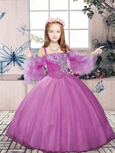 Lilac Straps Lace Up Beading Little Girl Pageant Dress Sleeveless