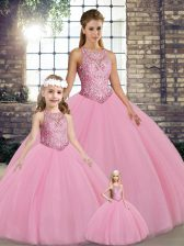 Fancy Sleeveless Embroidery Lace Up Quinceanera Dresses