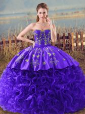 Romantic Sweetheart Sleeveless Sweet 16 Dress Brush Train Embroidery and Ruffles Purple Fabric With Rolling Flowers