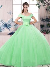 Modern Off The Shoulder Short Sleeves Ball Gown Prom Dress Floor Length Lace and Hand Made Flower Apple Green Tulle