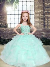 Apple Green Ball Gowns Tulle Straps Sleeveless Beading and Ruffles Floor Length Lace Up Girls Pageant Dresses
