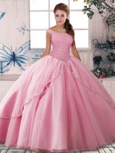Great Rose Pink Sleeveless Tulle Brush Train Lace Up 15th Birthday Dress for Military Ball and Sweet 16 and Quinceanera