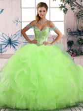 Ball Gowns Vestidos de Quinceanera Off The Shoulder Tulle Sleeveless Floor Length Lace Up