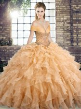 Gold Off The Shoulder Lace Up Beading and Ruffles Sweet 16 Dress Brush Train Sleeveless