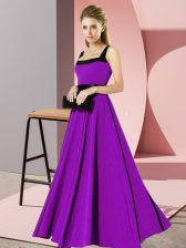 Belt Dama Dress for Quinceanera Purple Zipper Sleeveless Floor Length