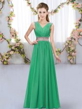 Stunning Floor Length Empire Sleeveless Turquoise Court Dresses for Sweet 16 Lace Up