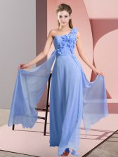 Flirting Sleeveless Lace Up Floor Length Hand Made Flower Quinceanera Court of Honor Dress
