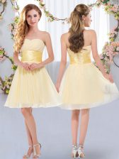 Adorable Yellow Dama Dress Wedding Party with Belt Sweetheart Sleeveless Lace Up
