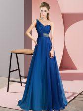 Artistic Blue Empire Chiffon One Shoulder Sleeveless Beading Criss Cross Prom Gown Brush Train