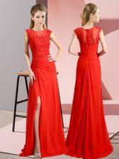 Flirting Red Chiffon Zipper Prom Gown Sleeveless Floor Length Beading