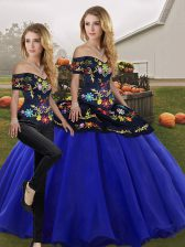 Floor Length Royal Blue Quinceanera Gowns Off The Shoulder Sleeveless Lace Up