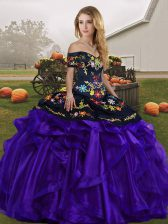 Black And Purple Ball Gowns Embroidery and Ruffles Sweet 16 Dress Lace Up Organza Sleeveless Floor Length
