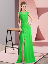 Scoop Sleeveless Chiffon Prom Dresses Beading Lace Up