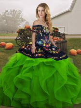 Green Ball Gowns Embroidery and Ruffles Ball Gown Prom Dress Lace Up Tulle Sleeveless Floor Length