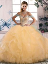 Gold Ball Gowns Beading 15th Birthday Dress Lace Up Tulle Sleeveless Floor Length