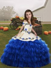 Floor Length Blue Girls Pageant Dresses Organza Sleeveless Embroidery and Ruffled Layers