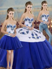 Eye-catching Royal Blue Lace Up Sweetheart Embroidery and Bowknot Quinceanera Gown Tulle Sleeveless