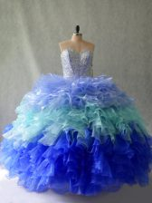 High Class Floor Length Ball Gowns Sleeveless Multi-color 15th Birthday Dress Lace Up