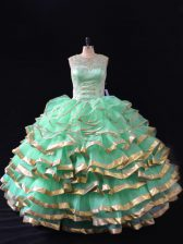 Lovely Apple Green Organza Lace Up Quinceanera Dress Sleeveless Floor Length Ruffles