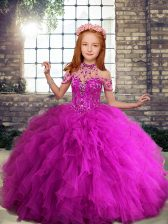 Beauteous Fuchsia Tulle Lace Up High-neck Sleeveless Floor Length Kids Formal Wear Beading and Ruffles