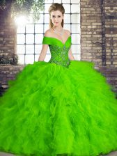 Admirable Off The Shoulder Sleeveless Quinceanera Gowns Floor Length Beading and Ruffles Green Tulle