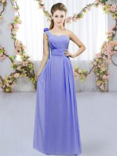 Dynamic Lavender Empire Chiffon One Shoulder Sleeveless Hand Made Flower Floor Length Lace Up Dama Dress for Quinceanera