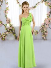 One Shoulder Neckline Hand Made Flower Quinceanera Dama Dress Sleeveless Lace Up