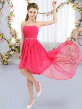 Perfect Chiffon Strapless Sleeveless Lace Up Beading Vestidos de Damas in Hot Pink