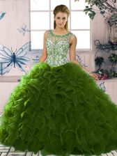 Fabulous Green Ball Gowns Organza Scoop Sleeveless Beading and Ruffles Floor Length Lace Up Sweet 16 Dress