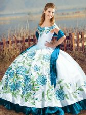 Blue And White Ball Gowns Satin Off The Shoulder Sleeveless Embroidery and Ruffles Floor Length Lace Up Sweet 16 Quinceanera Dress