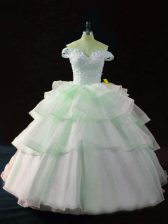 Traditional Sleeveless Brush Train Beading and Ruffled Layers Lace Up 15th Birthday Dress