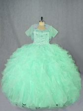 Beautiful Apple Green Sweetheart Lace Up Beading and Ruffles Sweet 16 Quinceanera Dress Sleeveless