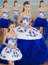 Most Popular Royal Blue Lace Up Sweet 16 Dress Embroidery and Ruffles and Bowknot Sleeveless Floor Length