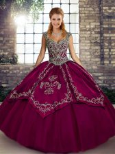 Delicate Sleeveless Tulle Floor Length Lace Up Sweet 16 Dresses in Fuchsia with Beading and Embroidery